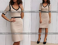 Платье  выше колен с черными кантиками,2 цвета.(р 42-46)