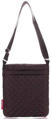Женская стеганая сумка-планшет POOLPARTY pool-59-eco-brown коричневая