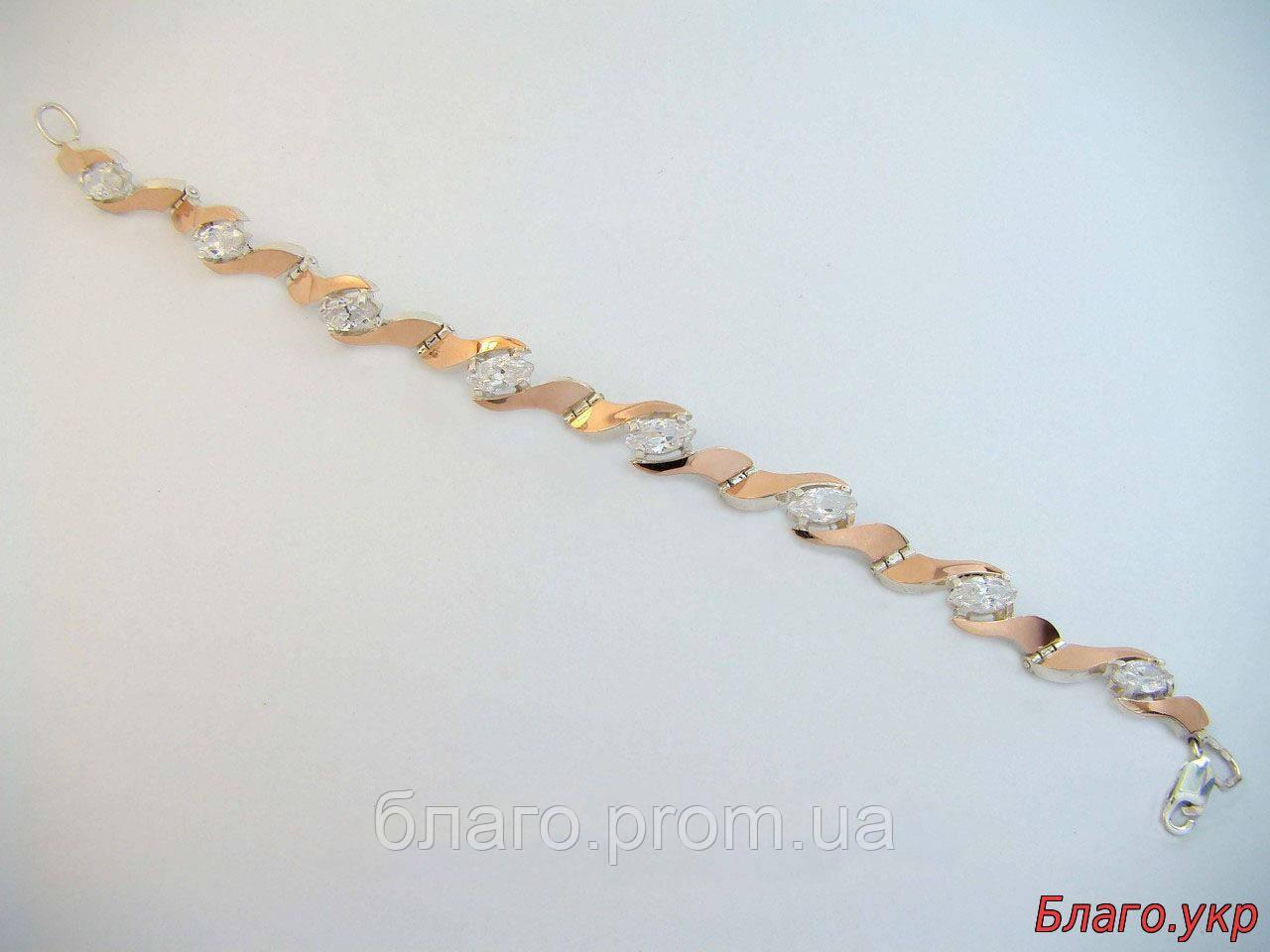 """Браслет """"Розетта"""" серебряный с золотыми накладками женский, фото 1"""