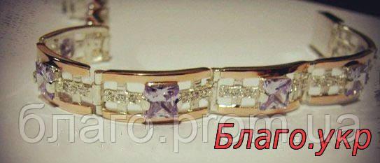 Браслет 105 серебряный с золотыми накладками женский