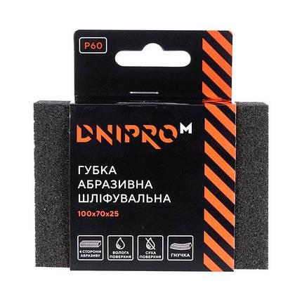 Губка абразивная шлифовальная Dnipro-M Р60 мягкая 100*70*25 мм, фото 2