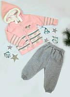 Костюм детский (кофта+штаны), низ-трикотаж начес, верх-вязка травка, размер 86-98, розовый+серый, МАЛОМЕРИТ