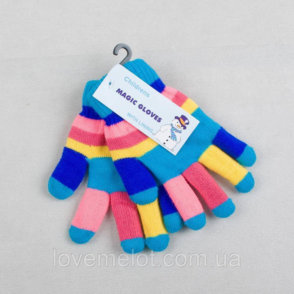 Дитячі рукавички подвійні рукавички теплі в'язані для дитини зимові рукавички бірюзові, на 3-6 років