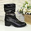 Ботинки женские   кожаные на устойчивом каблуке, фото 2