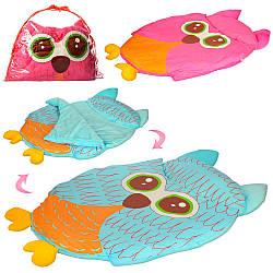 Коврик для младенца PF806 (12шт) сова, 102-76см,спальный мешок,2цвета, в сумке,74-54-7,5см