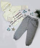 Костюм детский (кофта+штаны), низ-трикотаж начес, верх-вязка травка, размер 86-98, молочный+серый, МАЛОМЕРИТ