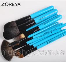 Набор профессиональных кистей Z'OREYA 12 шт в чехле (Голубой), фото 2