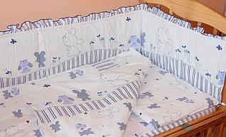 Набор постельного белья в детскую кроватку из 4 предметов Зайчик синий