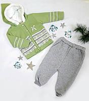 Костюм детский (кофта+штаны), низ-трикотаж начес, верх-вязка травка, размер 86-98, салатный+серый, МАЛОМЕРИТ