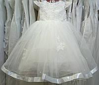 4.89 Нежное белое нарядное детское платье с вышивкой и рукавчиком на 3-5 лет