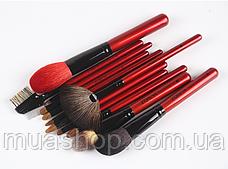 Набор профессиональных кистей Z'OREYA 12 шт в чехле (Красный), фото 3