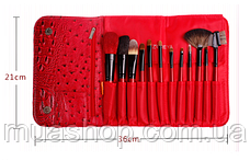 Набор профессиональных кистей Z'OREYA 12 шт в чехле (Красный), фото 2