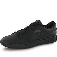 Кроссовки-кеды мужские Puma Smash V2 L Noir 365215 06 (черные, кожаные, повседневные, закрытые, бренд пума)