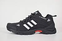 Кроссовки мужские Adidas Climaproof  зимние низкие на меху  повседневные под джинсы (черные), ТОП-реплика, фото 1
