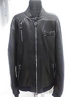Куртка мужская чёрного цвета из натуральной кожи под резинку Бренд-FP  длина 70см  48р-50р