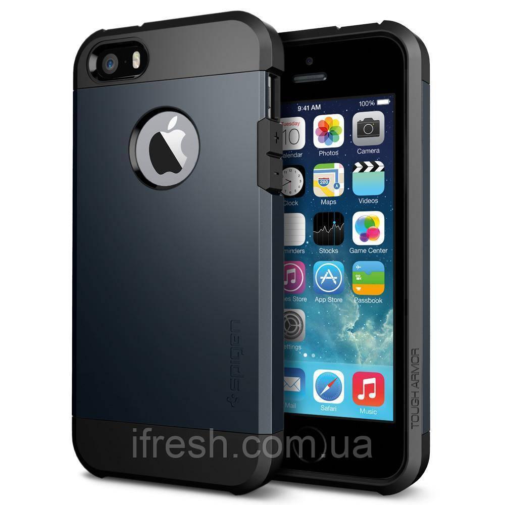 Чехол Spigen для iPhone SE/5S/5 Tough Armor, Metal Slate
