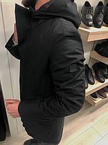 Мужская зимняя парка с капюшоном черная, фото 3