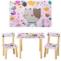 Столик 501-5 (1шт) деревянный, 60-40см, 2 стульчика, кошка, в кор-ке,