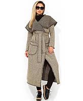 Кардиган пальто из букле удлинённый на запах с поясом размеры от XL 5112