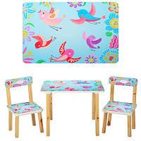 Столик 501-1 (1шт) деревянный, 60-40см, 2 стульчика, голубые птички, в кор-ке,