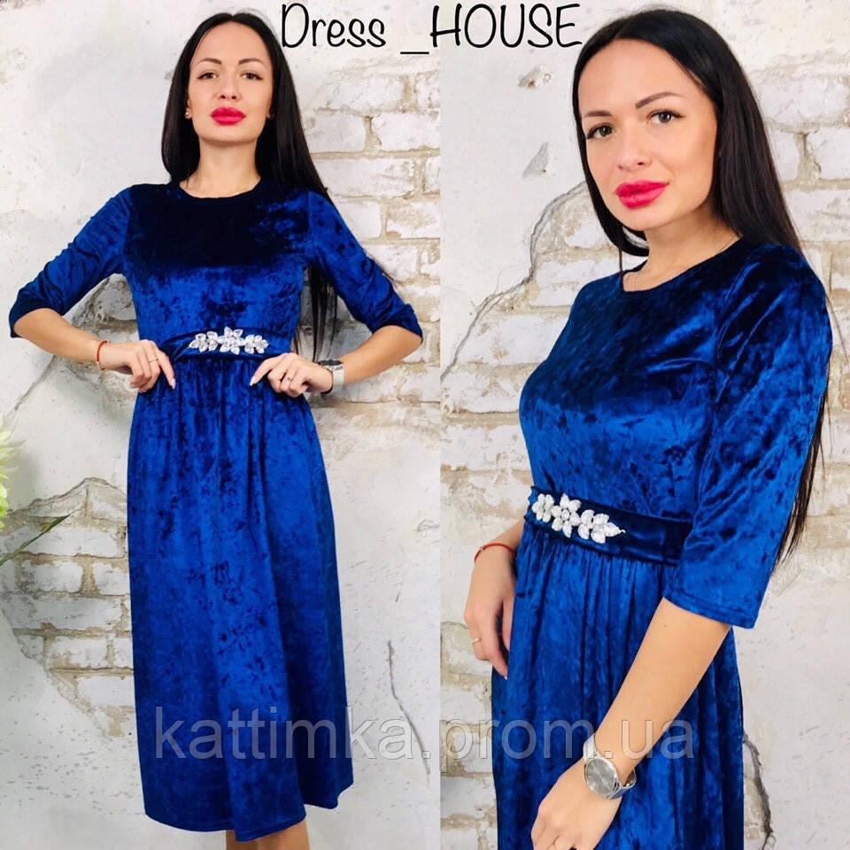 067fe502e75 Женское вечернее платье мраморный бархат с поясом украшенным камнями -  Интернет-магазин