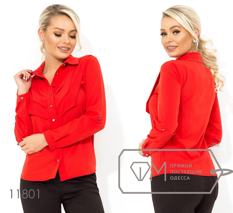 Красная блуза прямого кроя с застежкой по все длине