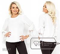 7d42175b801 Элегантная блуза с круглым вырезом втачными рукавами-колокол и рюшем на  манжетах 11797