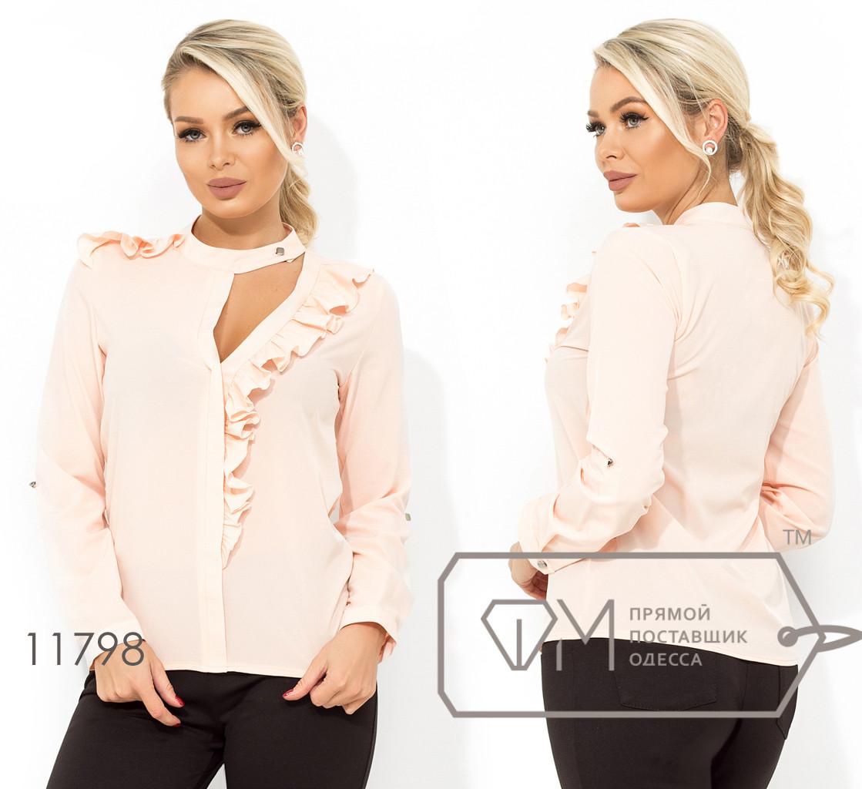 Блуза прямого кроя с пуговкой на воротнике