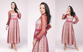 """Нарядное комбинированное миди-платье """"ЛОНДОН"""" с длинным рукавом (5 цветов), фото 2"""