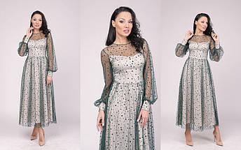 """Нарядное комбинированное миди-платье """"ЛОНДОН"""" с длинным рукавом (5 цветов), фото 3"""