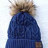 Зимняя детская шапка для мальчика  на завязках с меховым бумбоном размер 46- 48 на 1- 2 года