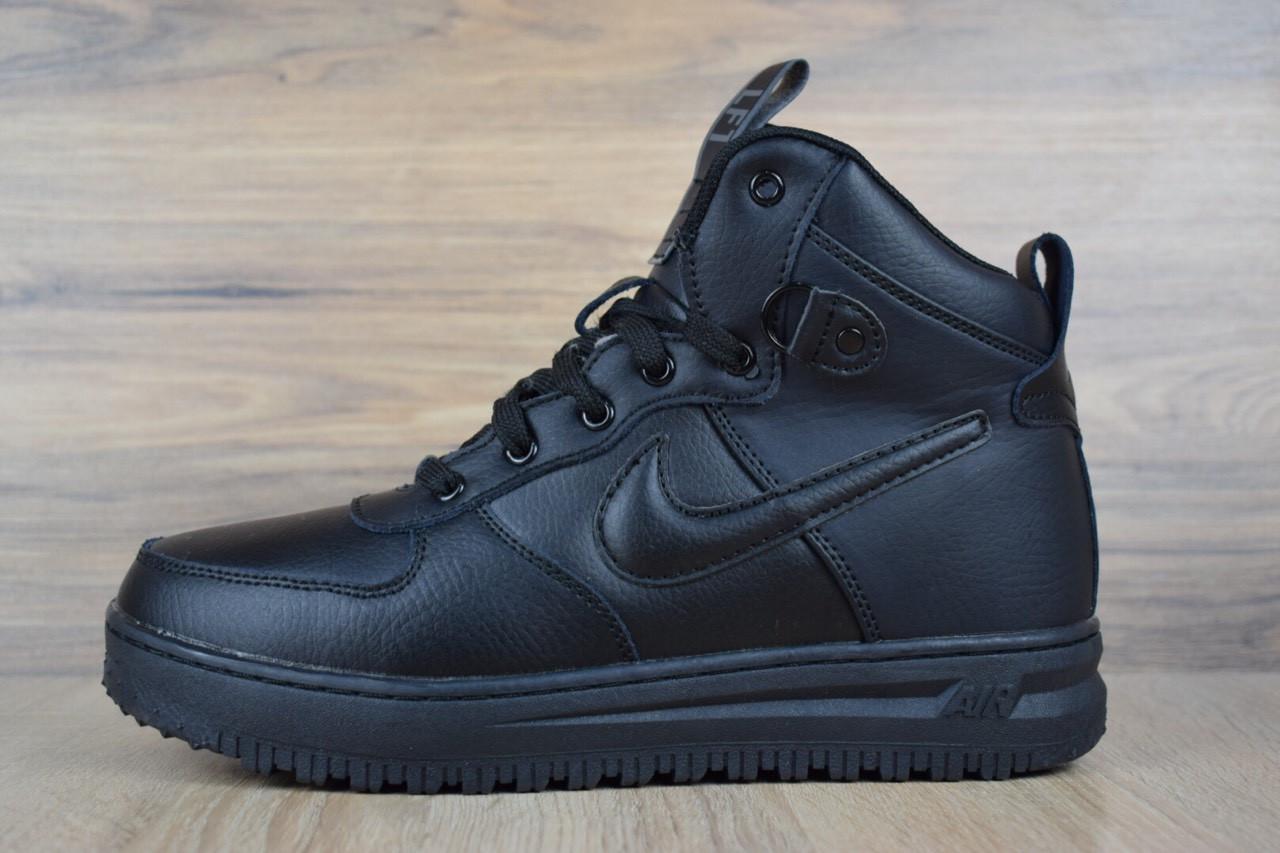 Черевики чоловічі Nike Lunar Force 1 зима зручні м'які високі стильні повсякденні (чорні),ТОП-репліка