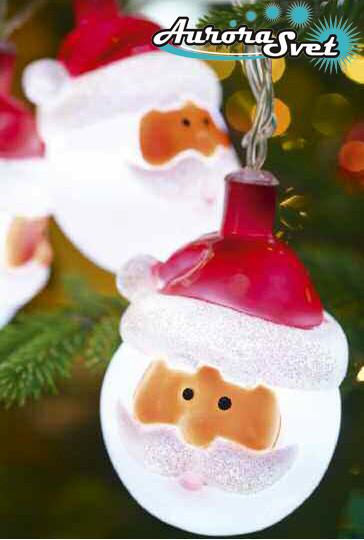 LED гирлянда Санта Клаус (10 шт). Светодиодная гирлянда. Гирлянда LED. Производство Франция.