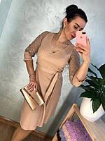 Женское нарядное платье с кружевными рукавами в расцветках. Д-39-1118