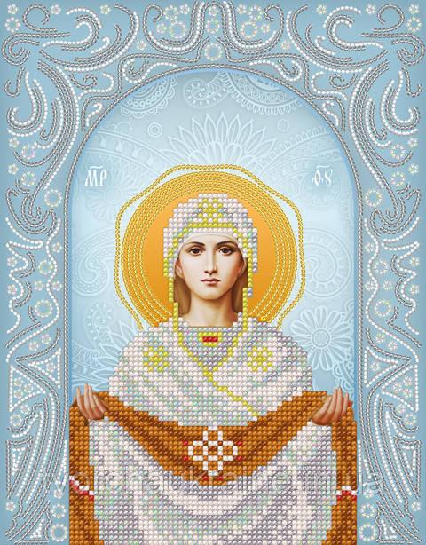 Схема на ткани для вышивания бисером Покров Пресвятой Богородицы. А-строчка