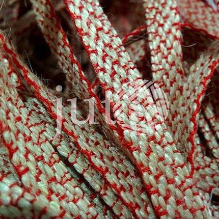 Декоративная лента (джутовая), 10 мм, V-узор. Украина, Красный, фото 2
