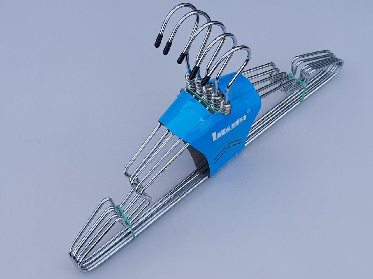 Плечики металлические хромированные с поворотным крючком и вырезами для бретелей, 41 см, 5 штук в упаковке