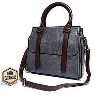 f94264e94529 Серая женская сумка саквояж классического современного дизайна