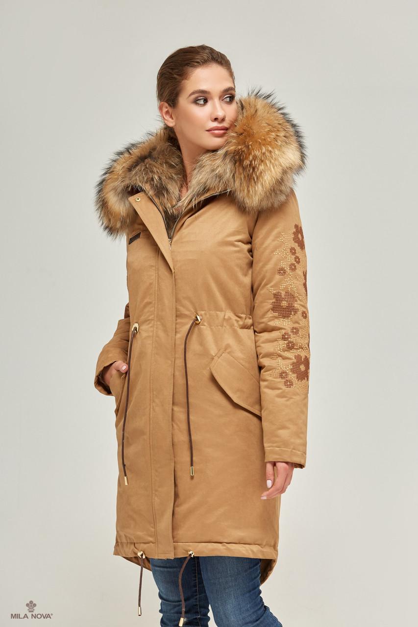 Зимняя Куртка Парка с Мехом КЭМЕЛ