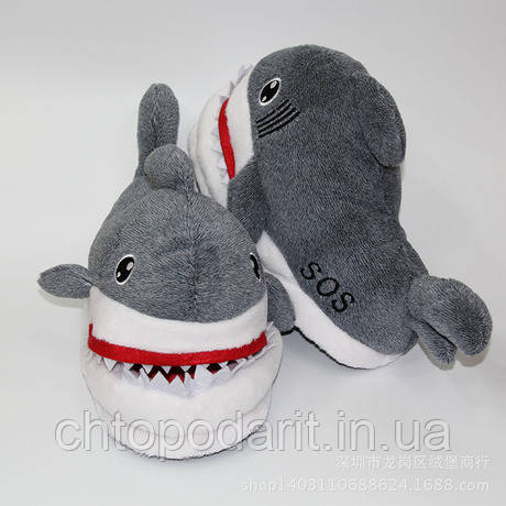 Мягкие тапочки кигуруми Акула Код 10-2499