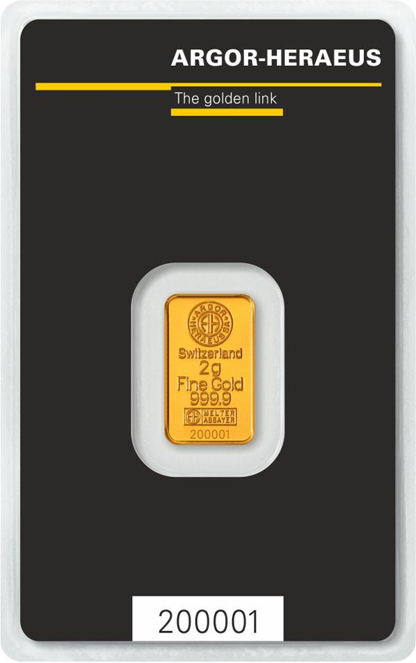 Слиток золота 2 грамм Argor-Heraeus (НОВЫЙ)