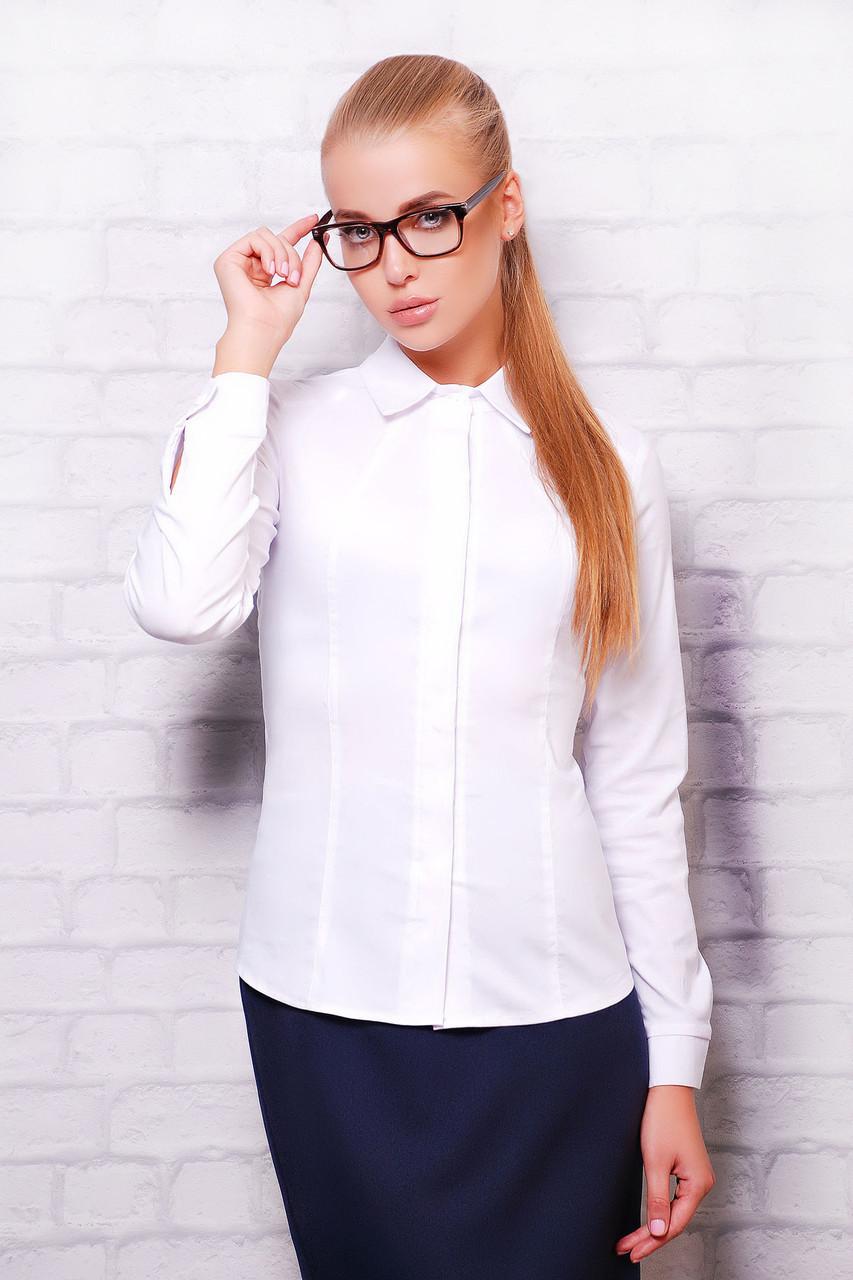 Женская белая классическая блузка длинный рукав блуза Норма д/р