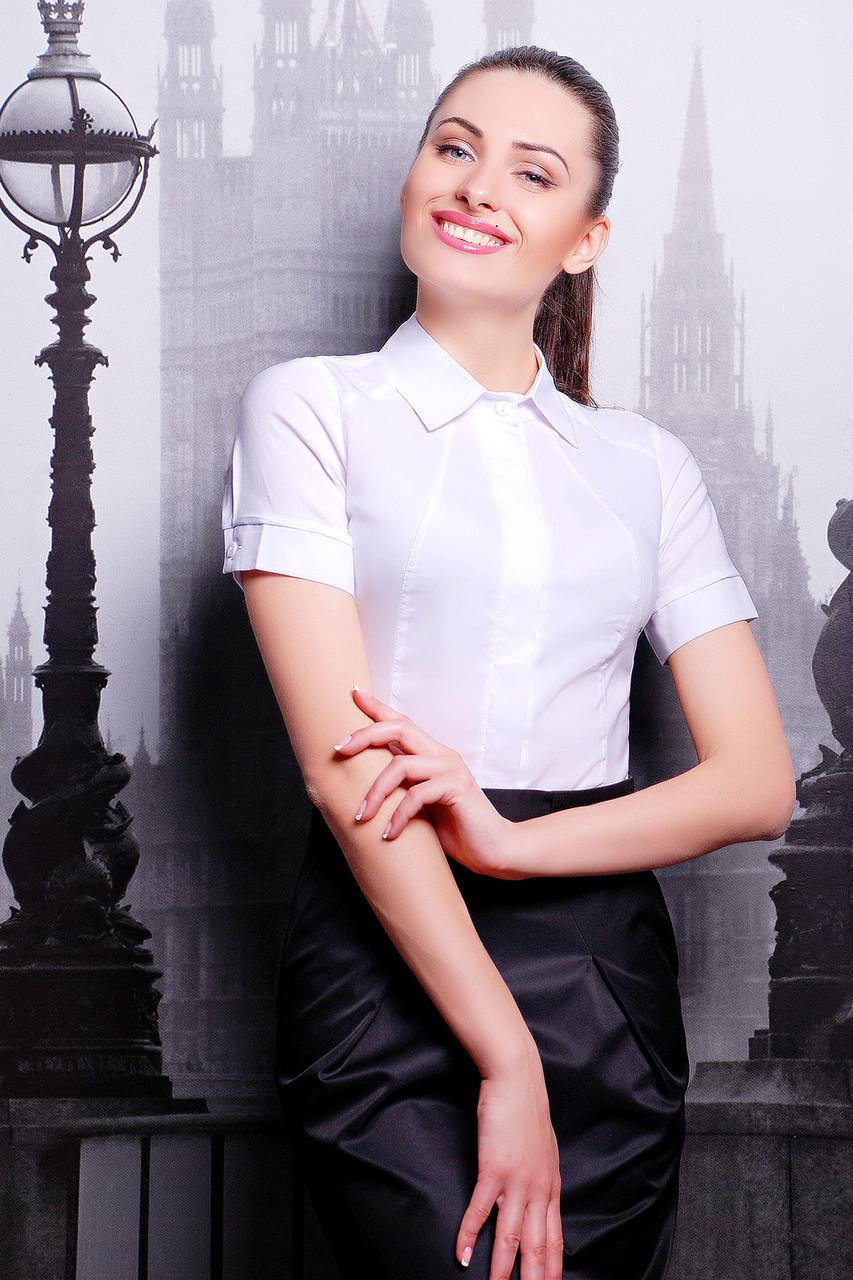 5e869ba3a14181e Классическая женская белая рубашка с коротким рукавом блуза Норма к/р -  Интернет-магазин
