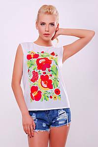 Женская летняя майка-футболка белая с рисунком Петриковская роспись3