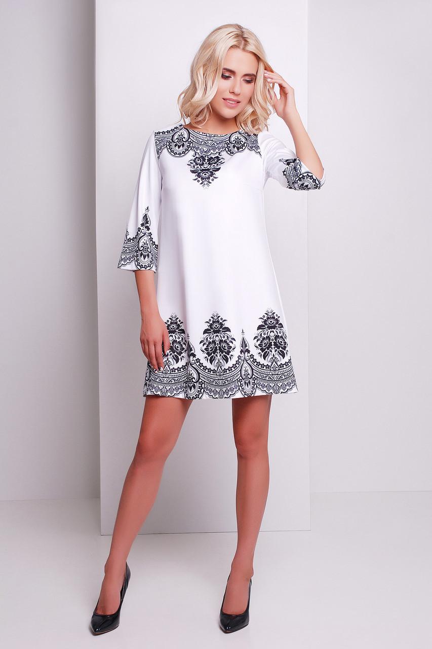fae04d3ecac Белое короткое летнее платье Узор черный сукня Тая-3 д р - Интернет-