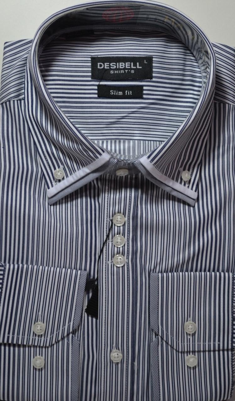 Мужская рубашка приталенная DECIBELL (размер M, L, XL, XXL, XXXL)