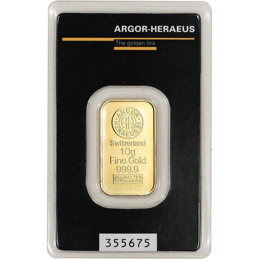 Слиток золота 10 грамм Argor-Heraeus (НОВЫЙ)