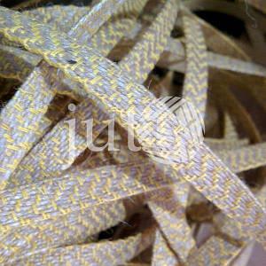 Декоративная лента (джутовая), 10 мм, V-узор. Украина, Желтый