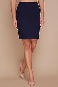Прямая темно-синяя юбка выше колена классика мод. №1