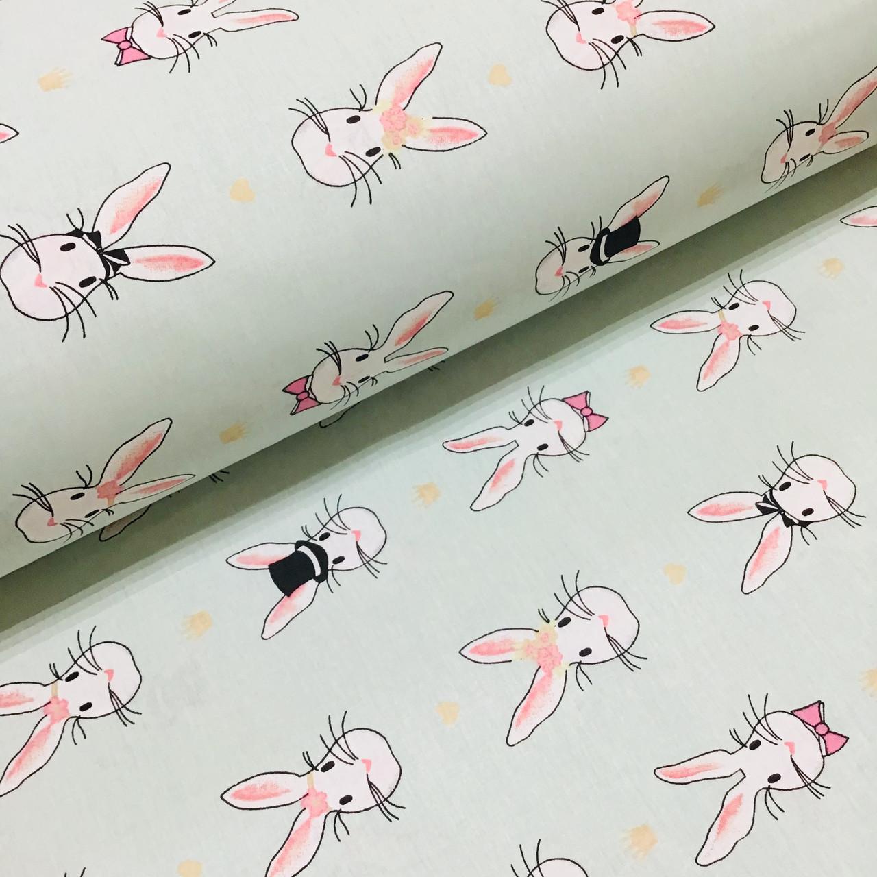 Ткань поплин зайцы с коронами и сердечками на мятном (ТУРЦИЯ шир. 2,4 м) №33-147